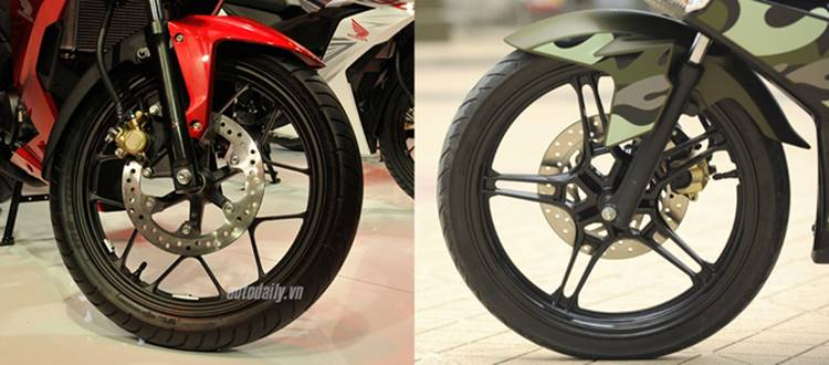 Honda Winner 150 vs Yamaha Exciter 150 ban depan