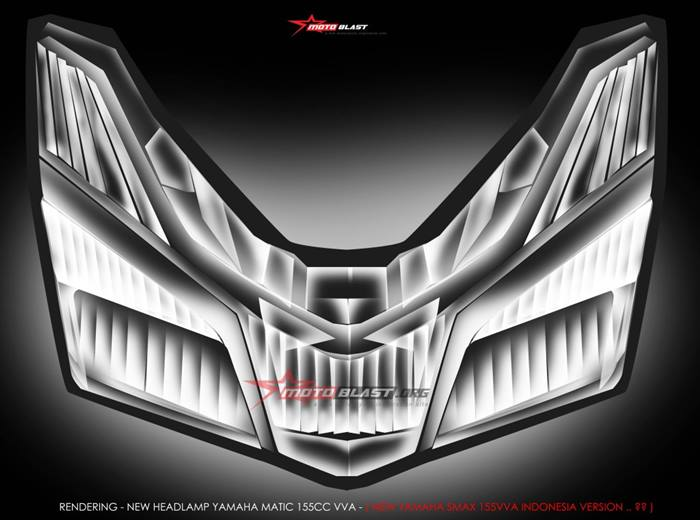 Rendering Bentuk  Headlamp Yamaha B3F, SMAX atau Force 155 VVA